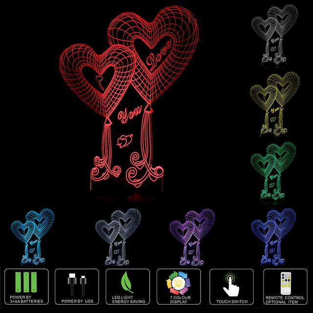 3D Illusion Bulbing Night 7 Color Change Touch Switch Love Rose Lamp LED Light