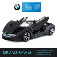 Rastar BMW i8 Diecast Toy Car Model Hot Original Diecasts Metal Vehicles Free Wheel 1:24 Collectible Toys for Boy Birthday Gift