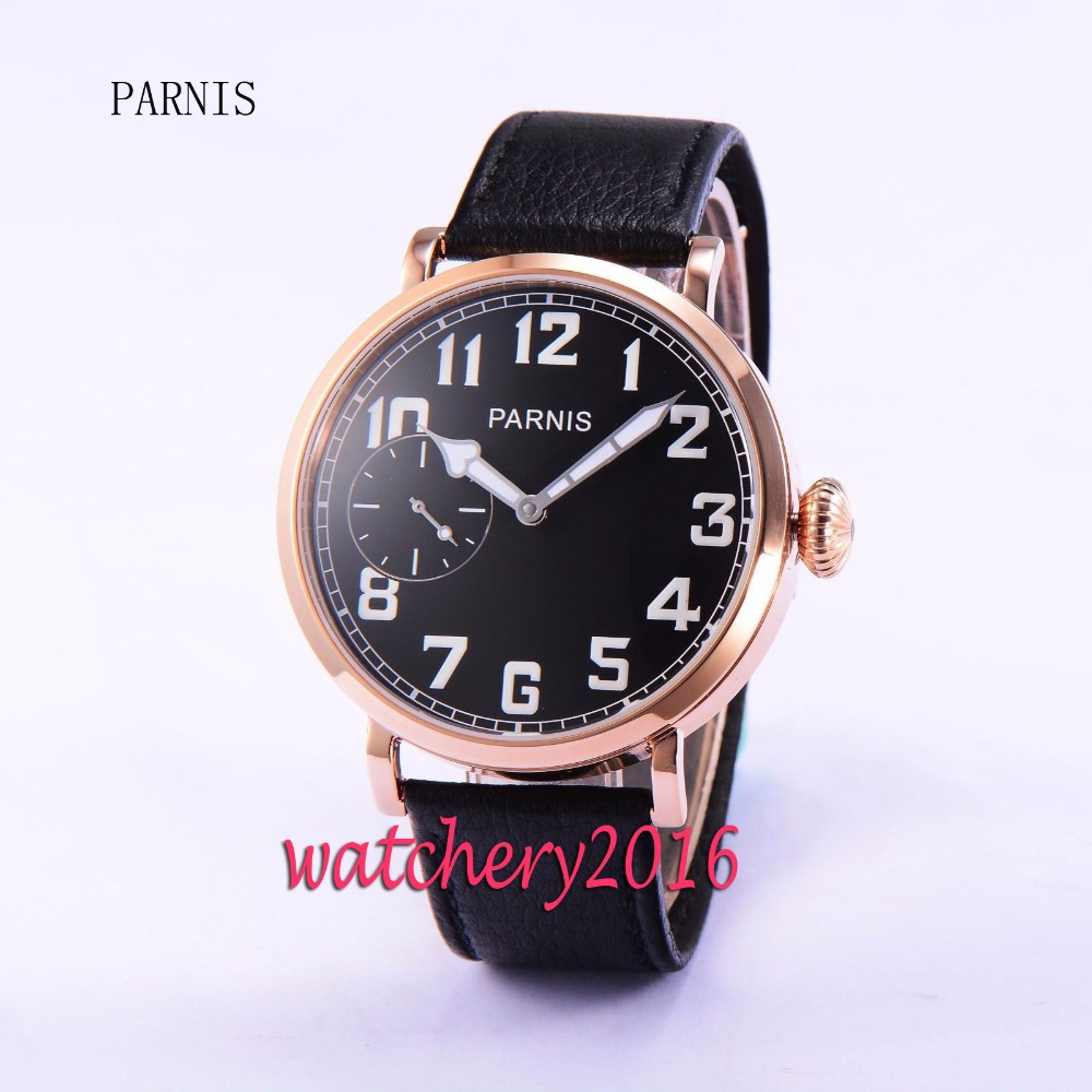 Casual 46mm Parnis black dial rose golden case 17 jewels 6497 hand winding movement Men's Watch 46mm parnis black dial rose gold 17 jewels 6497 hand winding mens watch p546