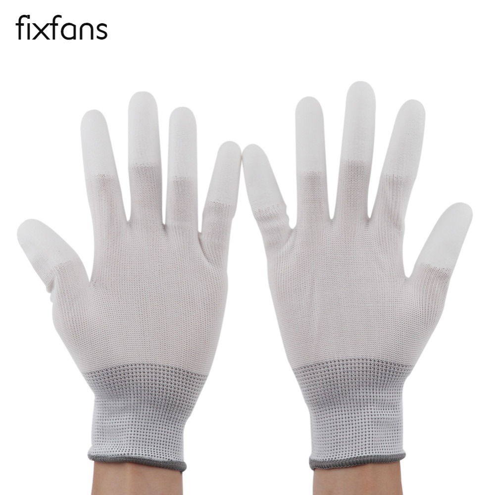 FIXFANS 1 Pair Anti-static ESD Gloves PU Coated Finger for PC Computer Electronic Work Repair Tools Anti Skid Gloves