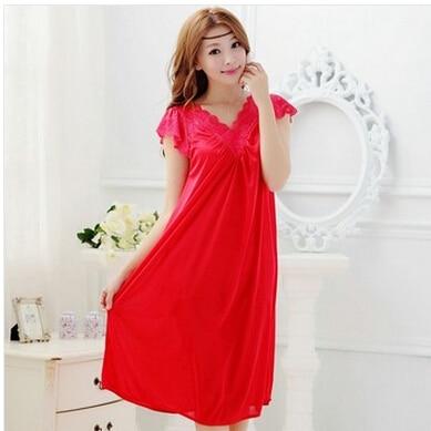 Free shipping women lace sexy nightdress girls plus size bathrobe Large size Sleepwear nightgown Y02-3 1