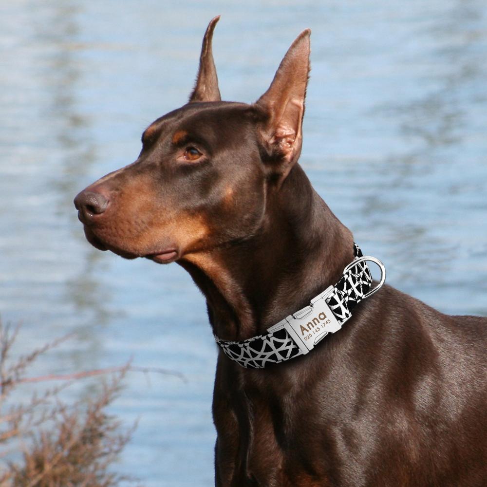 Collar de perro de Nylon personalizado con placa de identificación grabada 18