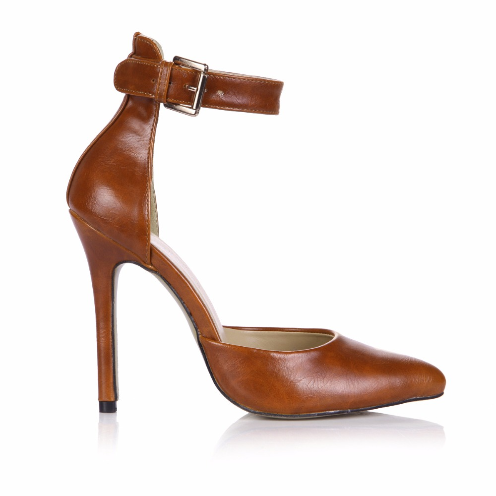 2017 Spring Camel Sexy Party Shoes Women Pointed Toe Stiletto Super High Heels Ankle Strap Ladies Pumps Chaussure Talons 0640-8a wholesale lttl new spring summer high heels shoes stiletto heel flock pointed toe sandals fashion ankle straps women party shoes