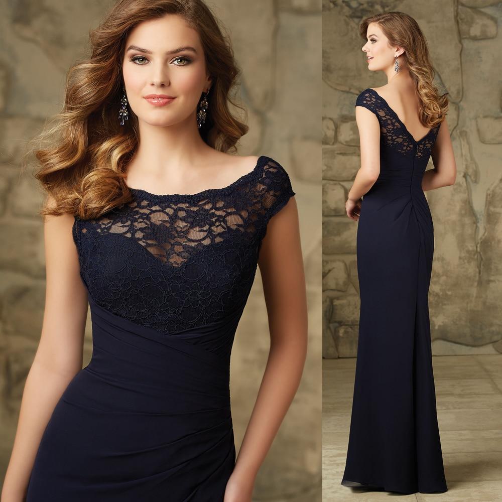 2015 elegante azul marino largos de dama de honor Vestidos