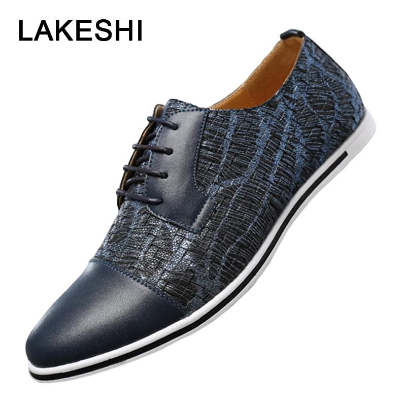 Fashion Man Casual Shoes Summer Men Loafers Oxford Lace Up Leather Shoes Luxury Brand Men Shoes Plus Size 38-47 Men 39 S Shoes