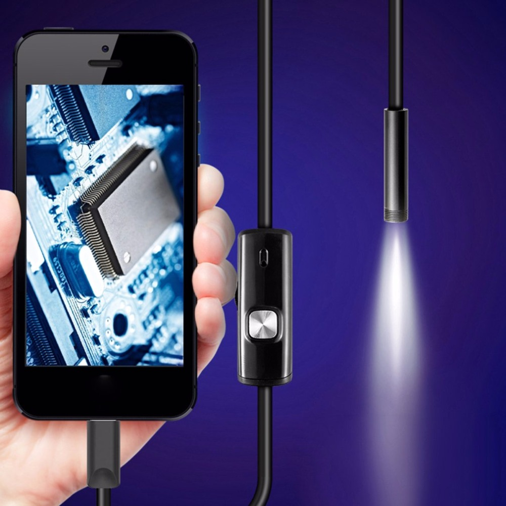 1.5 m 7mm lente rígida cable USB Mini cámara de inspección tubo de serpiente IP67 impermeable endoscopio con LED boroscopio para teléfono Android