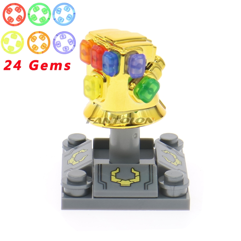 Super Heroes Avengers building blocks Infinity War With 24 Gems Gold-Plated Infinity Gauntlet Thanos Hulk Iron Man figrues