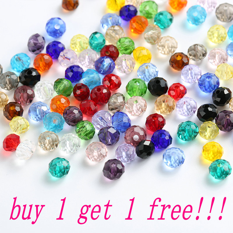 Buy 1 Get 1 Free 4mm-8mm Glass Ball Bead Loose Crystal Round Beads For Bracelet Necklace Accessories