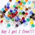 Compre 1 Obtenga 1 gratis 4mm-8mm de vidrio bola de cristal flojo cuentas para pulsera collar accesorios