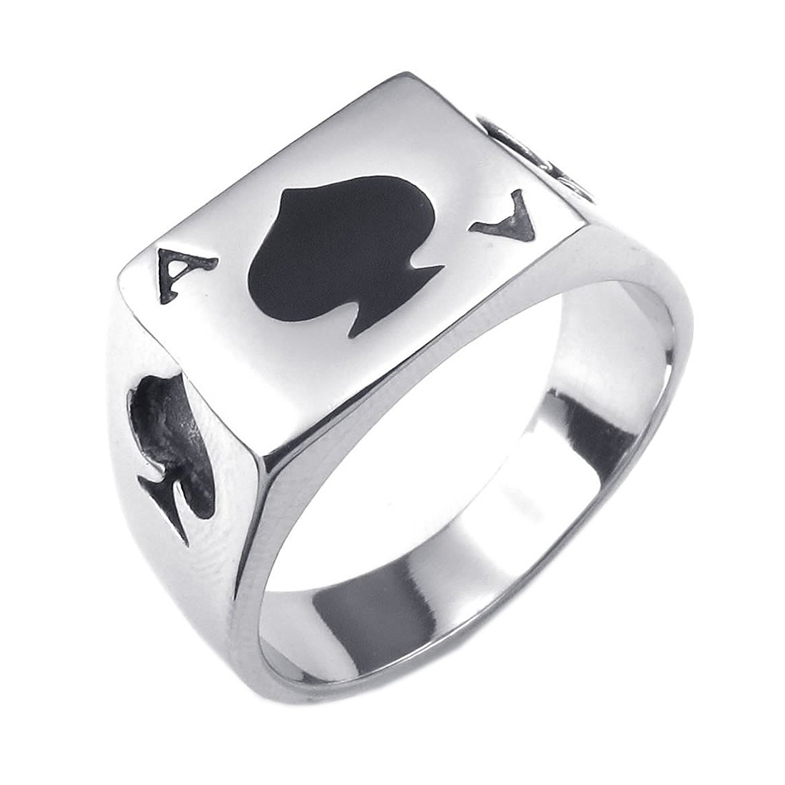 Jewelry Mens Ring, Stainless Steel, Poker Card Ass Card, Black Silver - Gr. 65