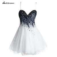 Short Homecoming Dresses Sweetheart Mini Tulle Homecoming Gowns with Beading Sweet 16 Dress Party Dress