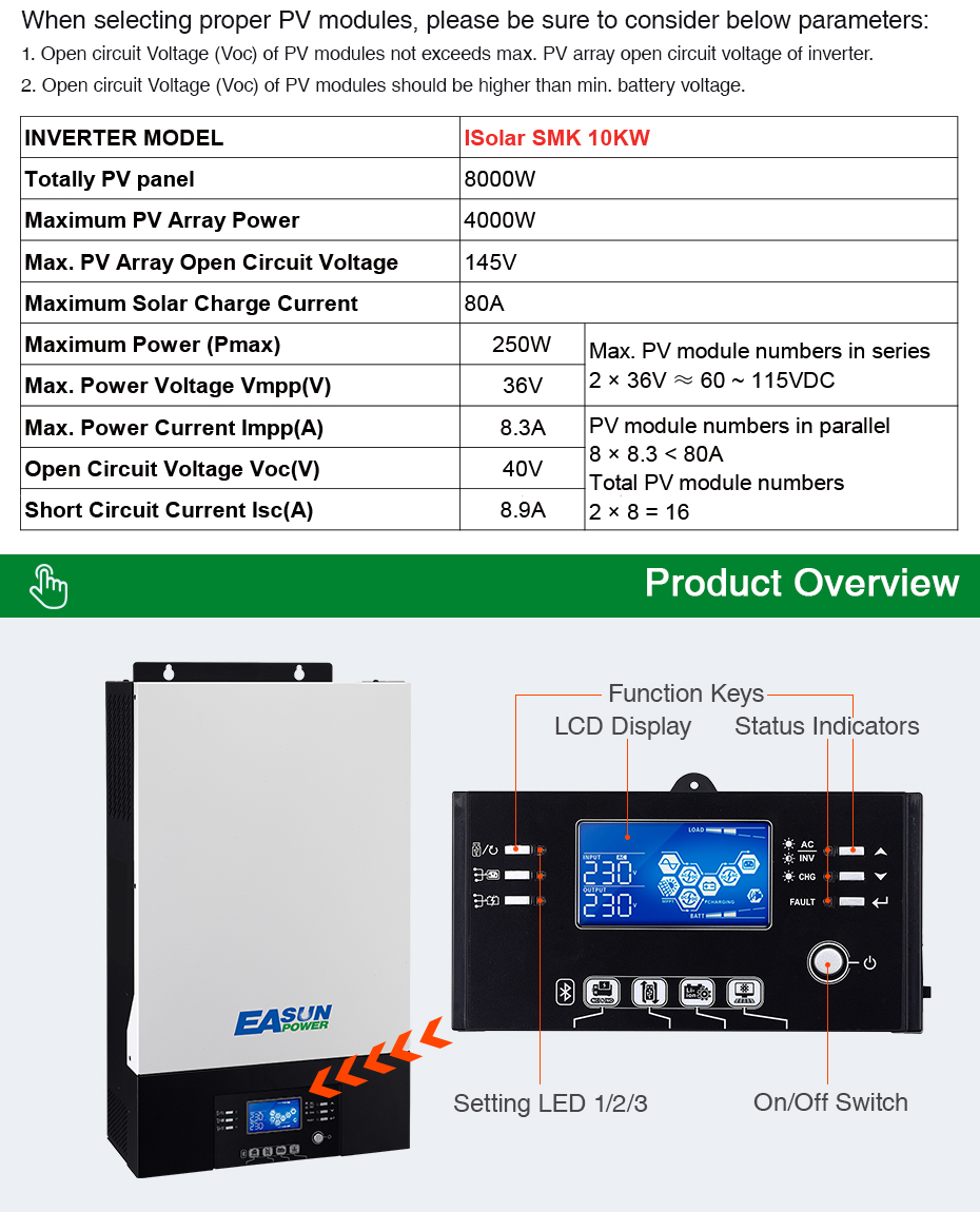 EASUN POWER 10Kw Solar inverter 230vac 48vdc 80A MPPT solar charger Parallel Inverter battery charger 60A zero transfer time