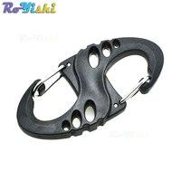 1000pcs/pack S shape Clip For Paracord Bracelet Keychain Plastic Buckle Black