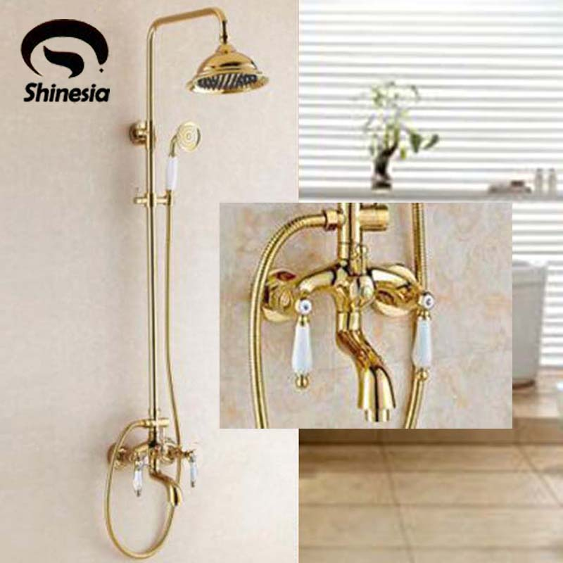Solid Brass Double Handles Bathroom Mixer Tap Tub Swivel Spout Hand Shower Shower Faucet Gold Polished