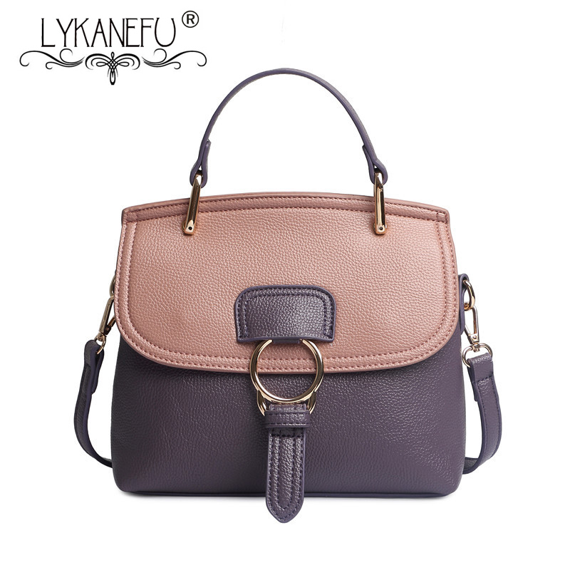 LYKANEFU Famous Brand Purse Women PU Leather Handbags Women Bags Messenger Shoulder Bag Bolsas Designer Handbag Female Sac qimanshi two pieces shoulder tote bag female famous brand 2017 women messenger bags handbag pu leather composite bag bolsas