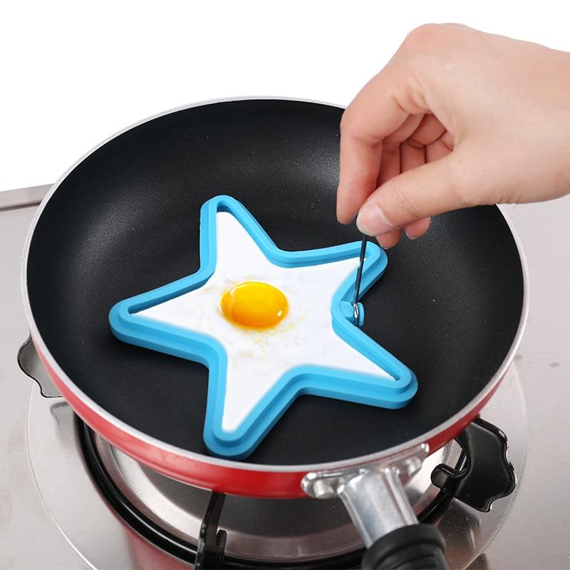 Star Shape Jaje Palačinka Prsten plijesni Silikonski Egg Kuhanje Alati Postavite Fried Kuhinja Gadgets za DIY Foods Alati Drop ShippingP25  t