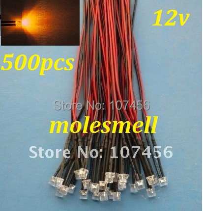 Free Shipping 500pcs 5mm Flat Top Orange LED Lamp Light Set Pre-Wired 5mm 12V DC Wired 5mm 12v Big/wide Angle Orange Led