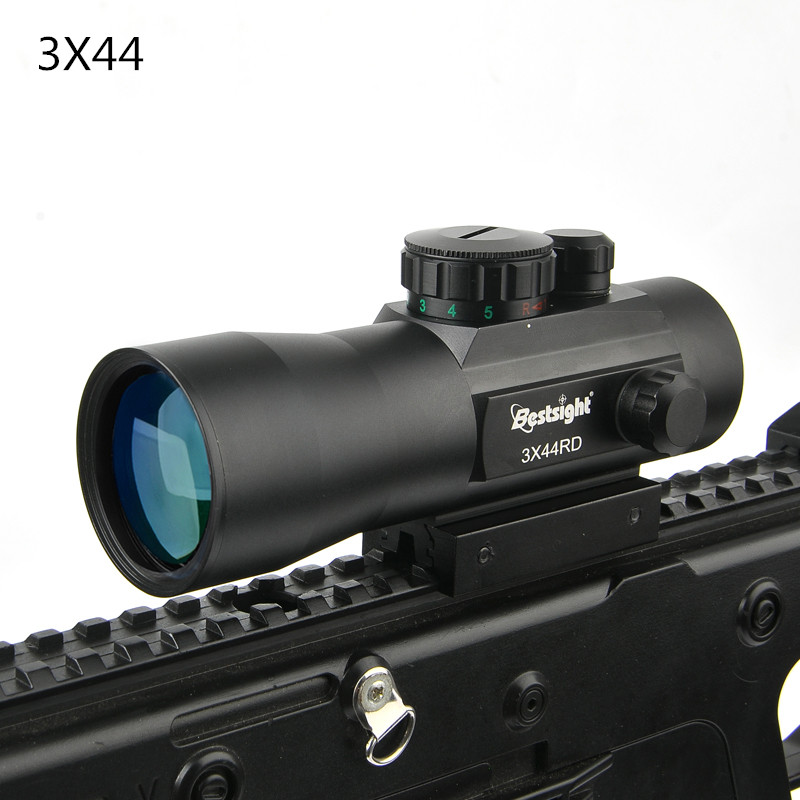 Bestsight 3x44 Green Red Dot Sight Scope Tactical Optics Riflescope Fit 11/20mm Rail Rifle Scopes For Hunting