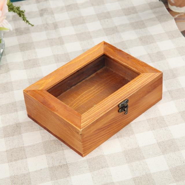 Zakka belt lock glass box wooden box clamshell retro real wood lattice storage box jewelry box & Zakka belt lock glass box wooden box clamshell retro real wood ...