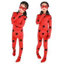 купить Girls LadyBug Costume Lady bug Cosplay Clothing Sets Kids Halloween Party Marinette Little Beetle Suit Lady bug Jumpsuit по цене 1082.48 рублей