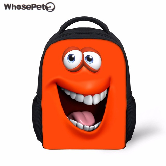 0bda66652e6a WHOSEPET Kids School Bag Funny Emoji Smiley Face Printing School Backpack  Baby Boys Girls Rucksack Kindergarten Bookbag Bolsa