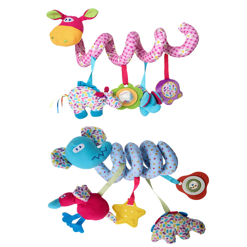Cute Baby Crib Bed Coiling Twist Hanging Toy with Music Sound Rattle Toy Lovely Soft Plush Animal Sound Bells Kids Grasp Toy
