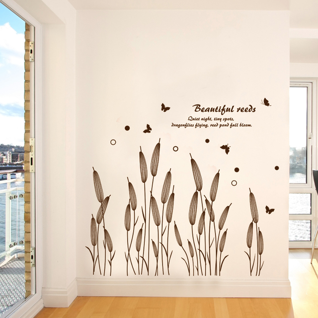 Fabulous SHIJUEHEZI] Abstract Reed Grass Wall Sticker Baseboard Decals for  KB25