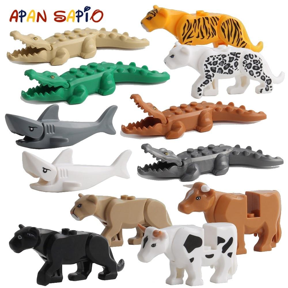 Animal Building Blocks Model Crocodile Leopard Educational Games Figure Brick Toys For Children Kids Compatible With Legoe