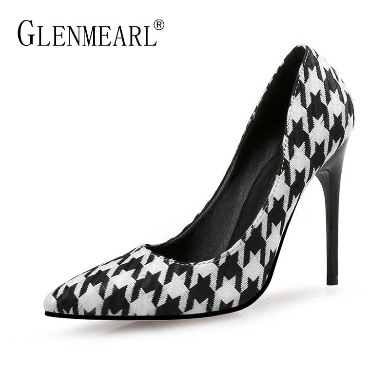 Fashion Women Pumps High Heels Shoes Brand Spring Woman Dress Shoes Thin Heels Plus Size Pointed Toe Single Female Pumps PartyDI