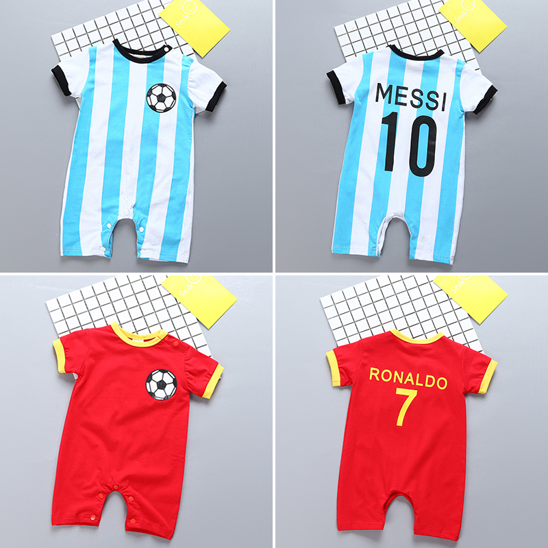 Baby jumpsuit summer pure cotton world cup football newborn boy   rompers   0-3-6-9-12-18month baby girl clothes bebe short sleeve