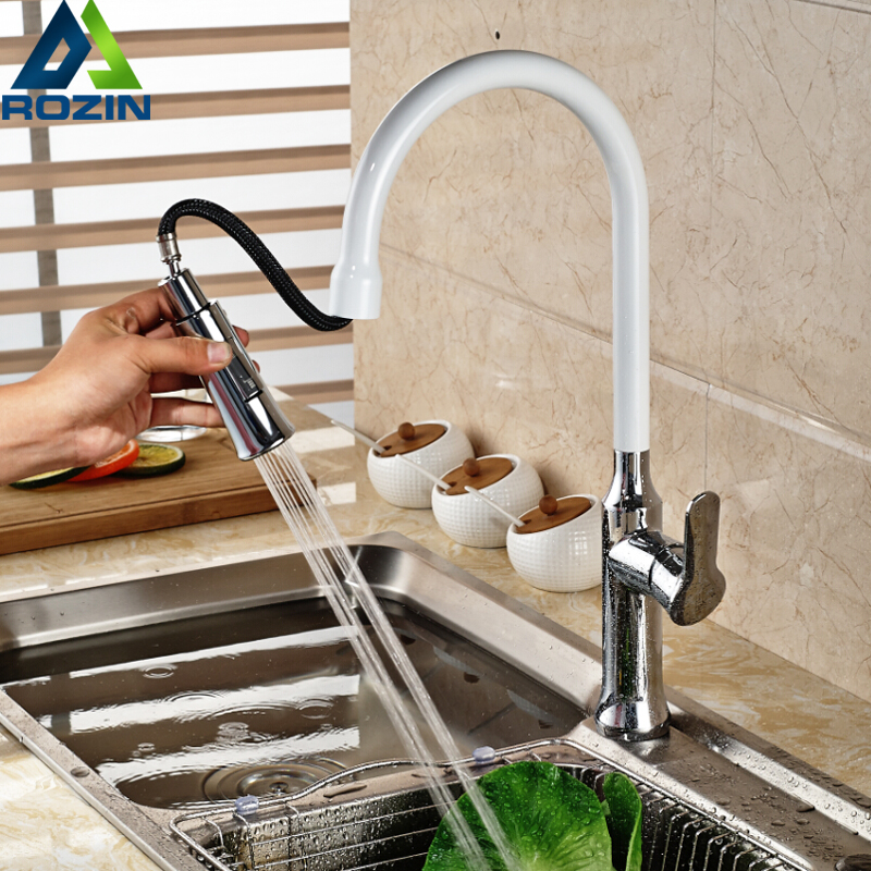 Chrome Stream Sprayer Long Neck Kitchen Sink Faucet Single Handle Pull Out White Kitchen Mixer Taps with Hot and Cold Water kitchen chrome plated brass faucet single handle pull out pull down sink mixer hot and cold tap modern design