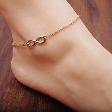 Sexy Women's Gold 8-shape Ankle Chain Delicate Anklet Bracelet Barefoot Sandal Beach Foot Jewelry tornozeleira femininas New