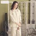Vintage Women 100%Cotton Pajamas Autumn Slash Collar Female Pijama Nightwear Royal Princess White Homewear Girls Sweet Sleepwear