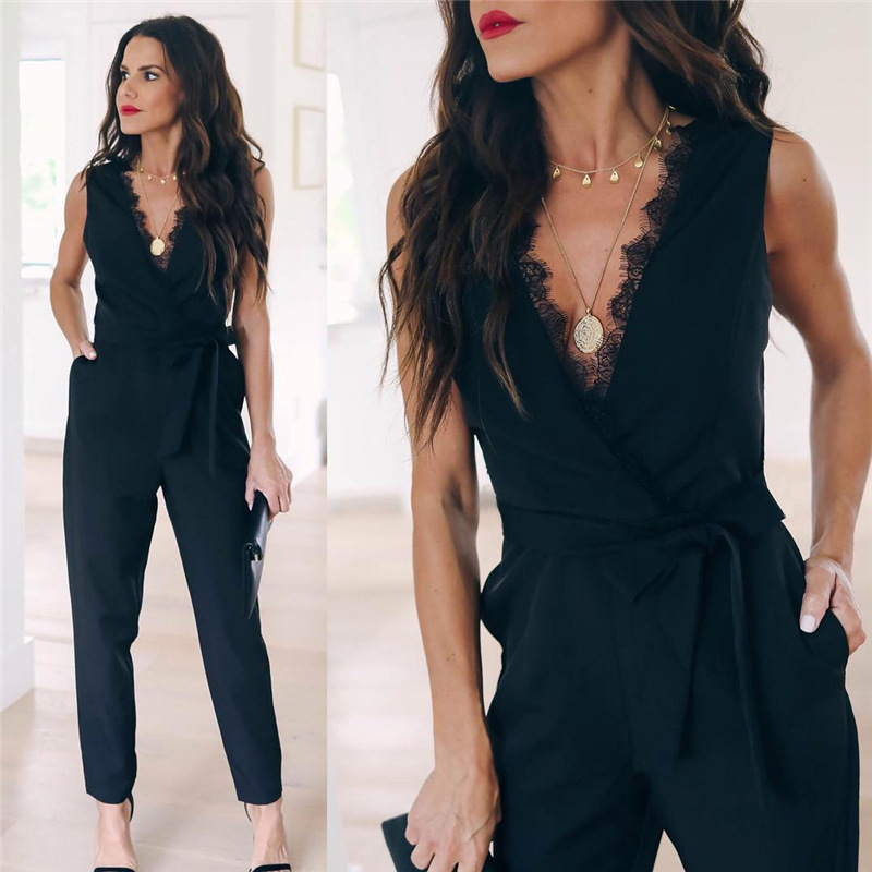 Fashion Jumpsuits Women Sexy Sleeveless Playsuits Black V Neck Belt Casual Vestidos Elegant Pockets Lace Overall Jumpsuit N328(China)