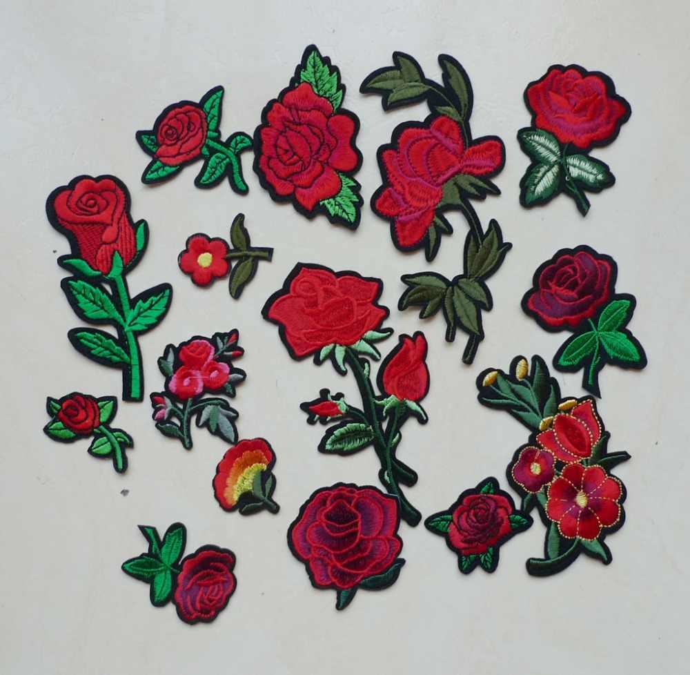 1 шт. 3D вышивка железа на заплатках для одежды джинсы красные розы цветы значки панк образец аппликации DIY аксессуары наклейки для одежды