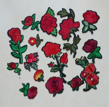 1Pcs 3D Embroidery Iron On Patches For Clothing Jeans Red Rose Flowers Badges Punk Motif Applique DIY Accessory Clothes Stickers(China)