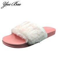 2017 Brand Women Summer Fashion Faux Fur Female House Slide Plush Slipper flipflop Sandals Fluffy Flip Flop furry mule Lady Shoe