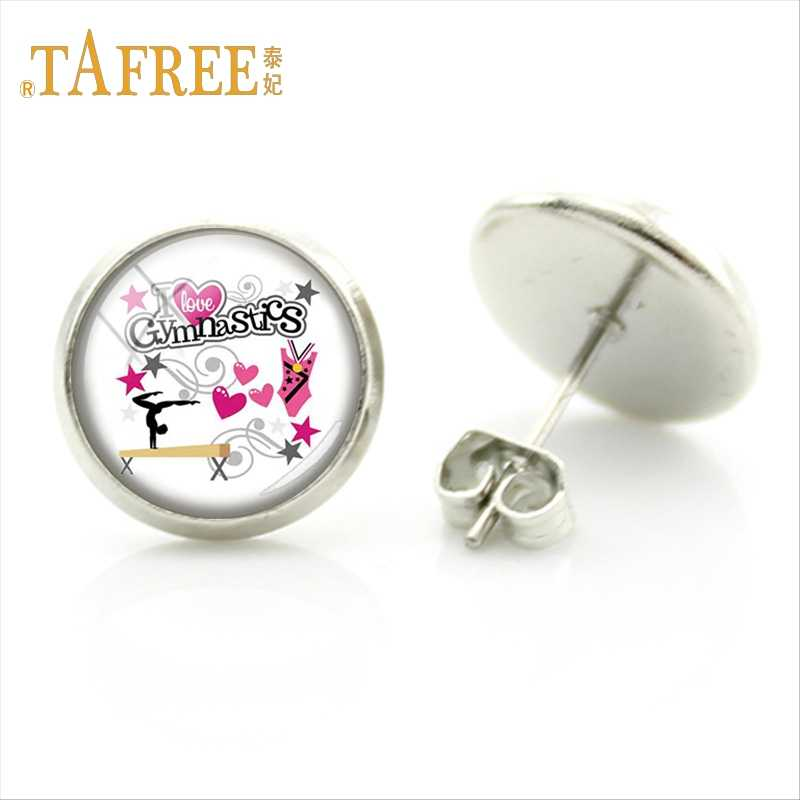 TAFREE Graceful Ballet dancer Student Studs Earring Gymnastics Sportsman Medals art picture Silver Plated Jewelry SP103