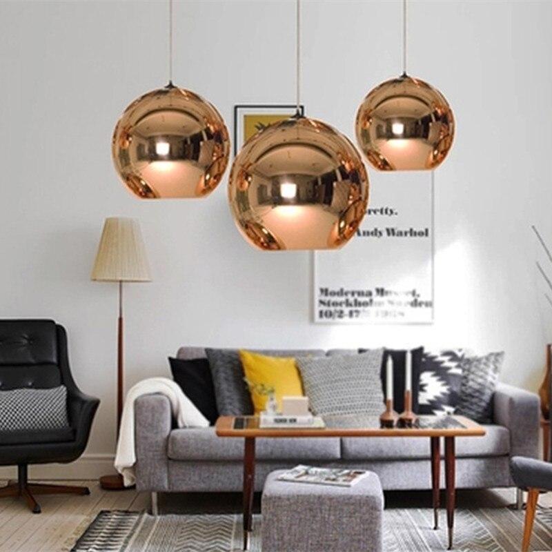Glass Globe Pendant Lamp Modern Chandeliers Mirror Ball Hanging Lamp Luminaire Indoor Home  Kitchen Fixture Deco Lighting