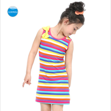 JUXINSU Summer Girls Rainbow Striped Sleeveless Dress Kids Dresses for Girls 1-7 Years Clothes SH602 girls dress striped sleeveless ruffles kids dresses o neck tops tank children clothes summer 2018 size 9 10 11 12 13 14 years