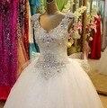 2015 горячая распродажа Cap рукавом кристалл роскошные бальное платье белый / кот / красный настоящее фото 100% гарантия качества китай тюль свадебное платье