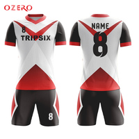 black and red soccer jersey, yellow and red soccer jersey, blue and white soccer uniform
