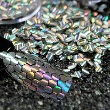 50g/100g/200g Fish Scale Mermaid Hexagon Nail Sheets Scales Holographic Nail Glitter Tips Manicure Nail Art Decoration 6 Colors 1