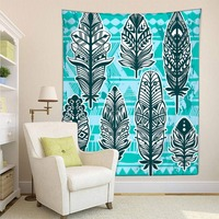HommomH Tapestry Art Decor Wall Hanging in Dorm Living Room Bedroom Ancient Leaves Totem Feather Blue