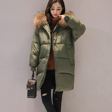 2017 Large Fur Collar Winter Jacket Women Parka Women's Down Jacket Hoody Casaco Long Cocoon Loose Jackets Parkas Spring