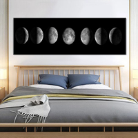 The Moon Canvas Poster Minimalist Art Painting Universe Wall Picture Long Banner Print Living Room Bedroom Decoration