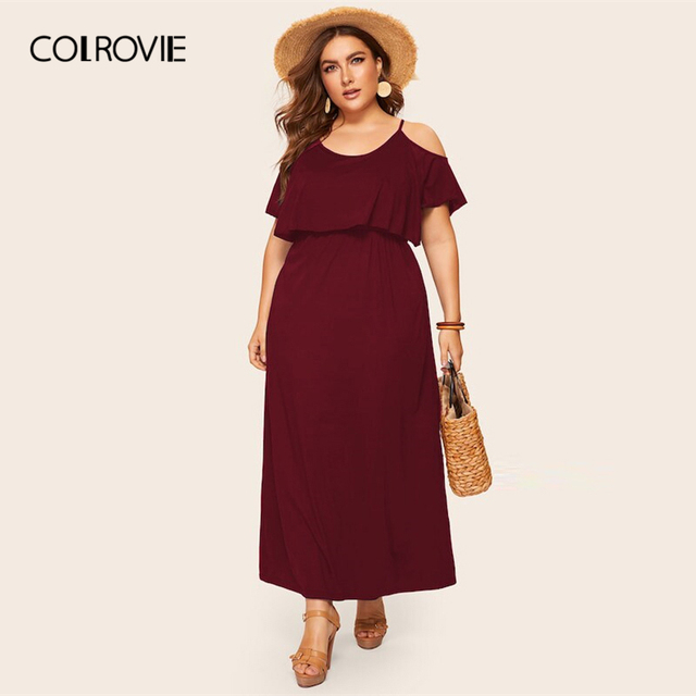 COLROVIE Plus Size Cold Shoulder Solid Maxi Dress Women 2019 Summer Casual Short Sleeve High Waist Elegant Office Ladies Dresses 3