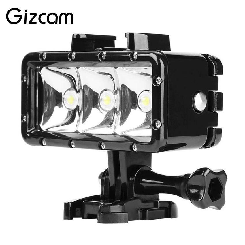Gizcam Underwater 30 M Mergulho de Alta Potência de Luz À Prova D' Água 3 LEVOU Lâmpada de Luz de vídeo para Gopro 5/4/3 + para XIAOYI SJ5000 Ação câmera