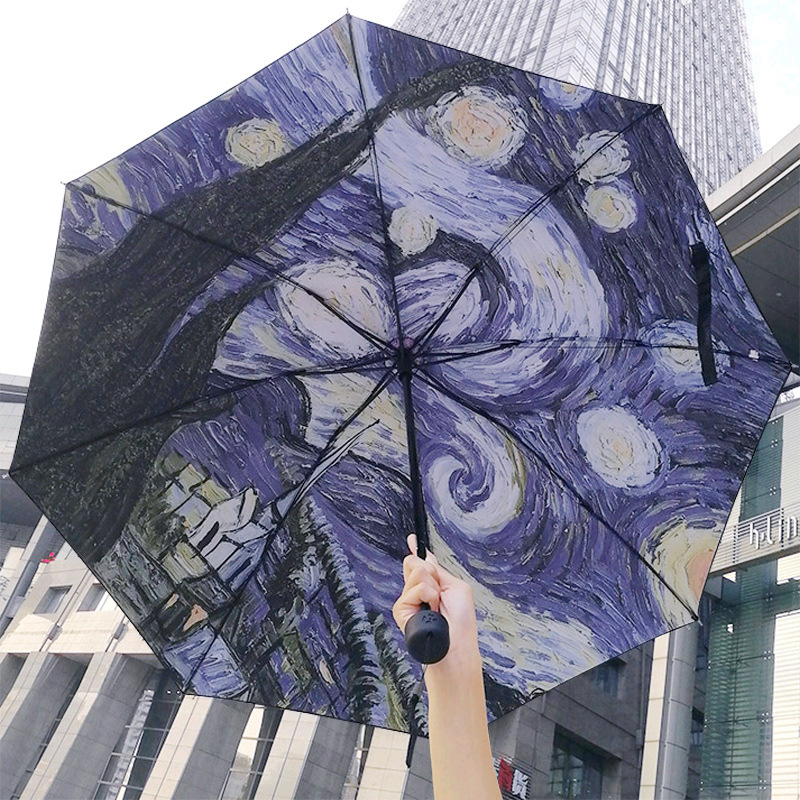 Yuding Umbrella Creative Oil-Painting Paraguas Sunny Starry-Night Non-Automatic Gift/decoration