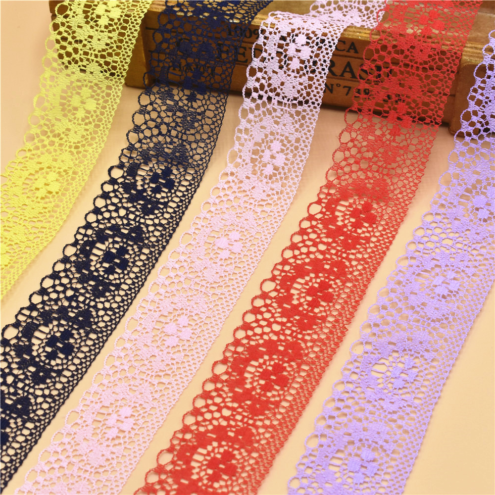 10 ярдов кружевная лента 40 мм широкий белый вышитый чистая кружевная бейка ткани кружевная бейка для швейных аксессуаров украшения одежды